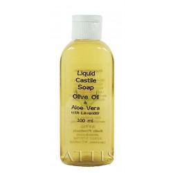 ATTIS Liquid Castile Soap - Olive Oil & Aloe Vera - with Lavender Essential Oil - 100ml - Olive Oil content min 50% - Handmade