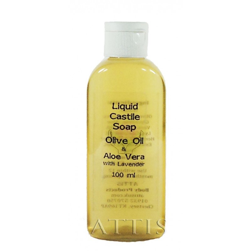 ATTIS Liquid Castile Soap - Olive Oil & Aloe Vera - with Lavender Essential Oil - 100ml - Olive Oil content min 50% - Handmade