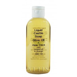 ATTIS Liquid Castile Soap - Olive Oil & Aloe Vera - Grapefruit and Orange Essential Oil - 100ml - Olive Oil content min 50%
