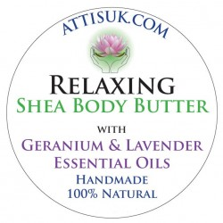 ATTIS Relaxing Shea Body Butter with Geranium and Lavender Essential Oils   Vegan