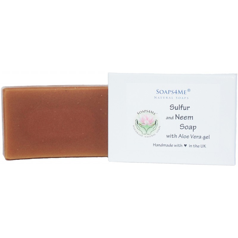SOAPS4ME Sulphur and Neem Handmade Natural Soap | with Aloe Vera gel, Neem and Eucalyptus Essential Oils | 100g (1pc)