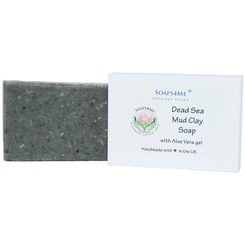 SOAPS4ME Dead Sea Mud Clay Handmade Natural Soap | with Organic Coconut Oil & Aloe Vera gel | 100g (1pc)