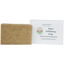 ATTIS Neem Exfoliating Handmade Natural Soap (1pc) | with Neem oil, Neem stick & leaf powder and Tea Tree Essential Oil | 100g