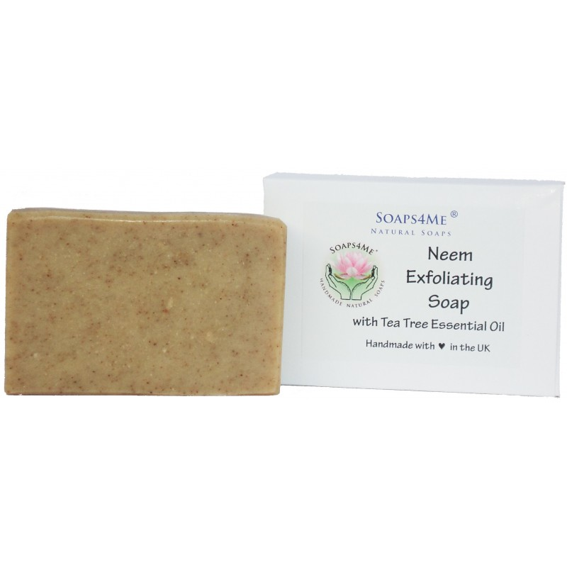 ATTIS Neem Exfoliating Handmade Natural Soap (1pc) | with Neem oil, Neem stick & leaf powder and Tea Tree Essential Oil | 100g
