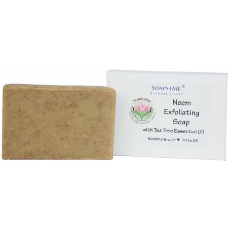 SOAPS4ME Neem Exfoliating Handmade Natural Soap | with Neem oil, Neem stick & leaf powder and Tea Tree Essential Oil | 100g