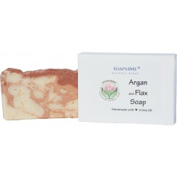 SOAPS4ME Argan and Flax Handmade Natural Soap | with Aloe Vera and Organic Coconut Oil | 100g (1pc)