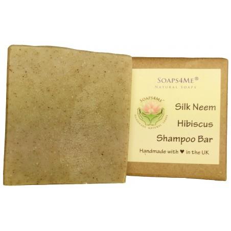 SOAPS4ME Handmade Silk Neem Hibiscus Shampoo Bar | with Sandalwood Essential Oil | Tussah Silk | Shea Butter