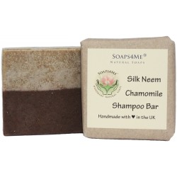 SOAPS4ME Handmade Silk Neem Chamomile Shampoo Bar | with Chamomile & Lavender Essential Oil | Tussah Silk | Shea Butter