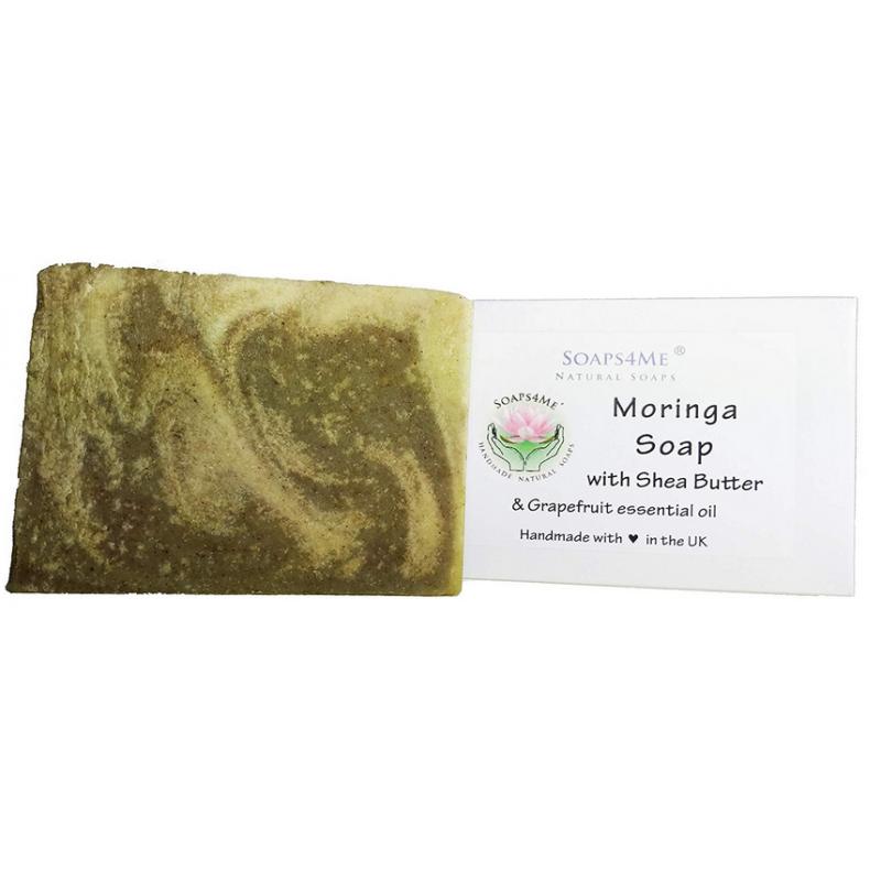 SOAPS4ME Moringa Handmade Natural Soap | with Shea Butter, Grapefruit essential oil and Moringa powder
