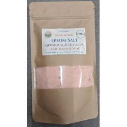 SOAPS4ME Exfoliating Epsom Salt Geranium & Hibiscus Foot Scrub & Soak 250 GRAM